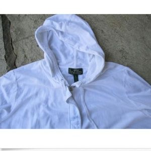 Ralph Lauren White Zip hoodie Beach Coverup - XXXL